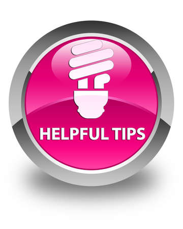 helpful: Helpful tips (bulb icon) glossy pink round button