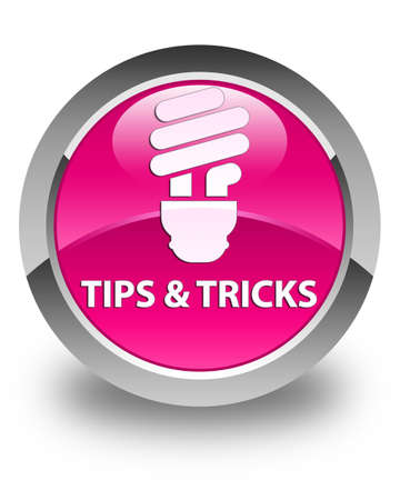 incandescence: Tips and tricks (bulb icon) glossy pink round button Stock Photo