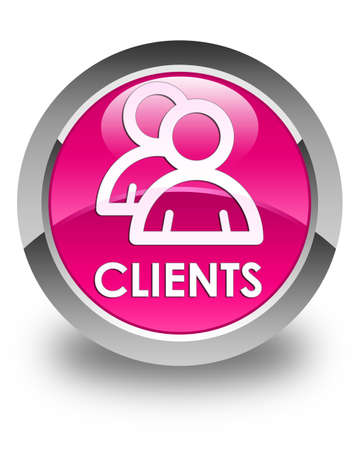 clientele: Clients (group icon) glossy pink round button