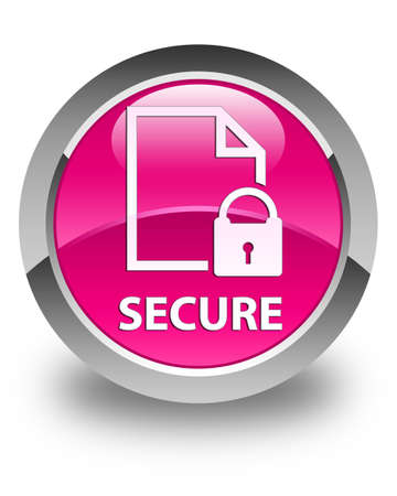 key hole shape: Secure (document page padlock icon) glossy pink round button Stock Photo