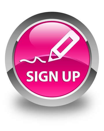 sign up: Sign up glossy pink round button Stock Photo