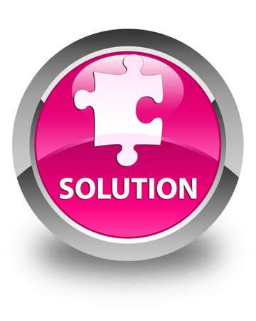 plugin: Solution (puzzle icon) glossy pink round button Stock Photo