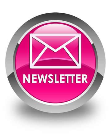 news letter: Newsletter glossy pink round button Stock Photo