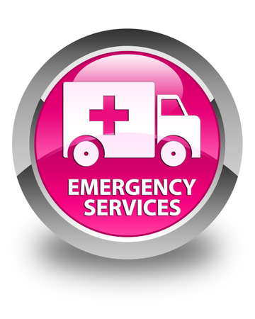 emergency services: Emergency services glossy pink round button Stock Photo
