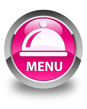 cater: Menu (food dish icon) glossy pink round button