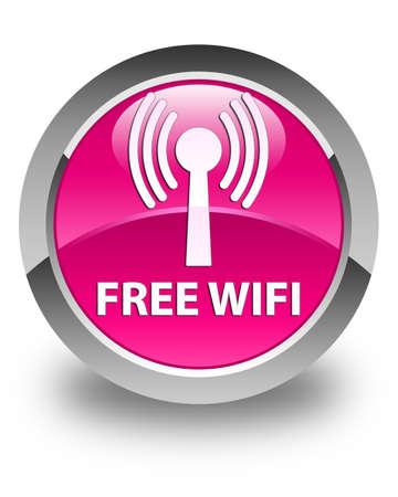 wlan: Free wifi (wlan network) glossy pink round button