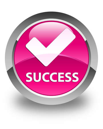 validate: Success (validate icon) glossy pink round button Stock Photo
