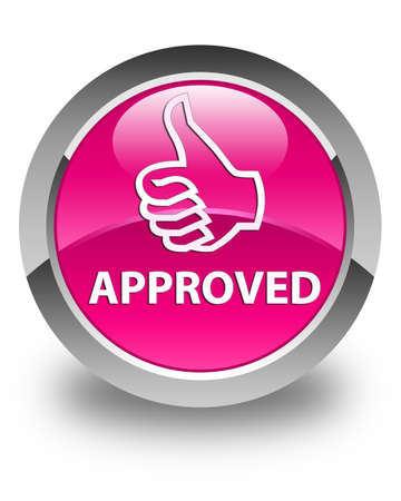 thumbs up icon: Approved (thumbs up icon) glossy pink round button