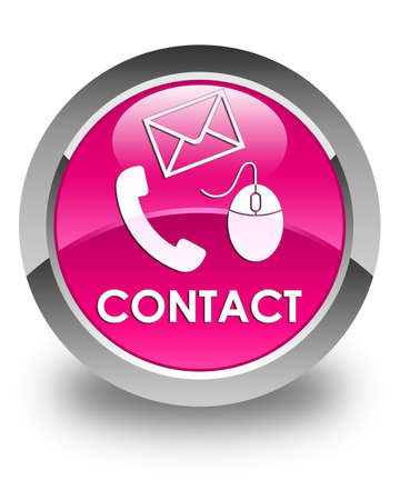 phone button: Contact (phone, email and mouse icon) glossy pink round button Stock Photo