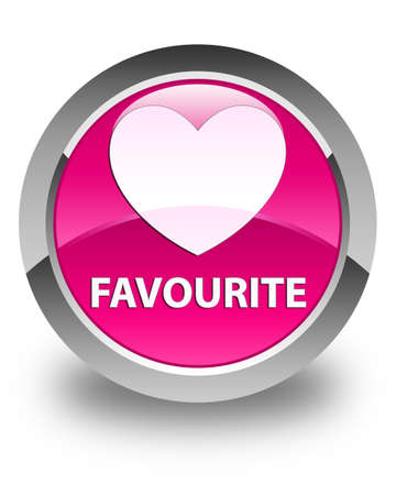 favourite: Favourite (heart icon) glossy pink round button