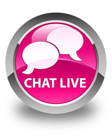instant message: Chat live glossy pink round button Stock Photo