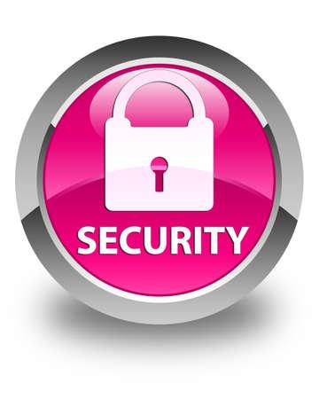 key hole shape: Security (padlock icon) glossy pink round button Stock Photo