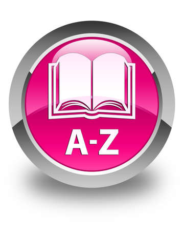az: A-Z (book icon) glossy pink round button Stock Photo