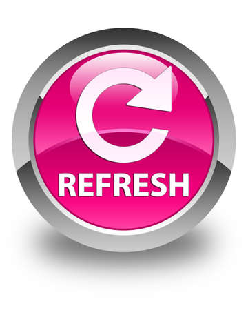rotate: Refresh (rotate arrow icon) glossy pink round button