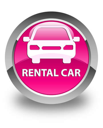 rental: Rental car glossy pink round button Stock Photo