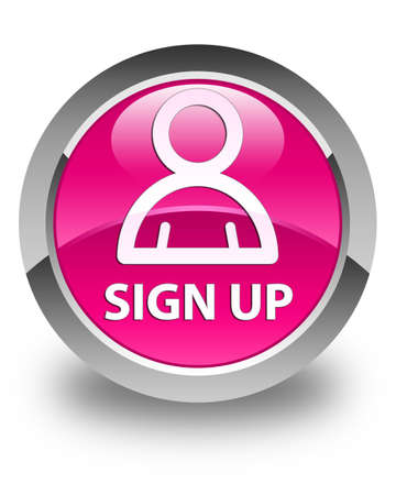 sign up: Sign up (member icon) glossy pink round button