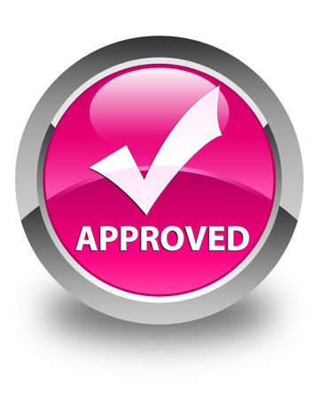 validate: Approved (validate icon) glossy pink round button