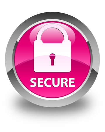 secure: Secure (padlock icon) glossy pink round button