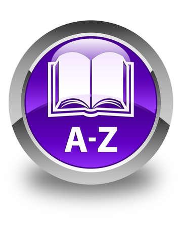 circle icon: A-Z (book icon) glossy purple round button