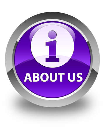 about: About us glossy purple round button Stock Photo