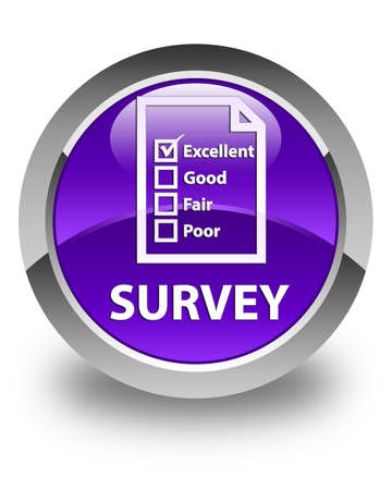 questionnaire: Survey (questionnaire icon) glossy purple round button