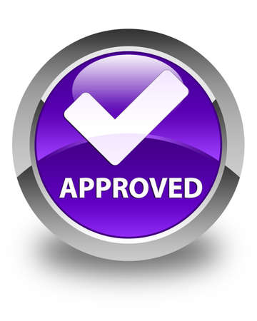 validate: Approved (validate icon) glossy purple round button Stock Photo