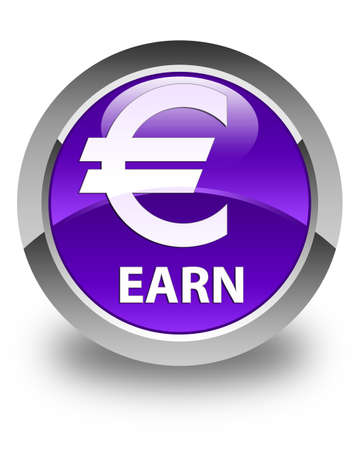 earn: Earn (euro sign) glossy purple round button