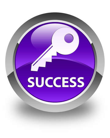 success key: Success (key icon) glossy purple round button