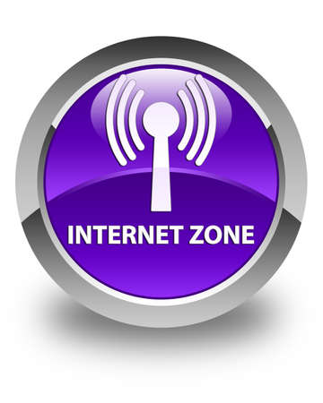 wlan: Internet zone (wlan network) glossy purple round button Stock Photo