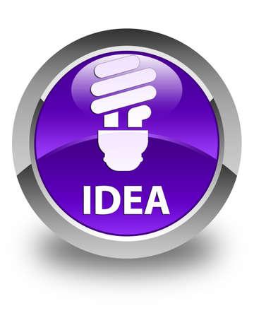 incandescence: Idea (bulb icon) glossy purple round button