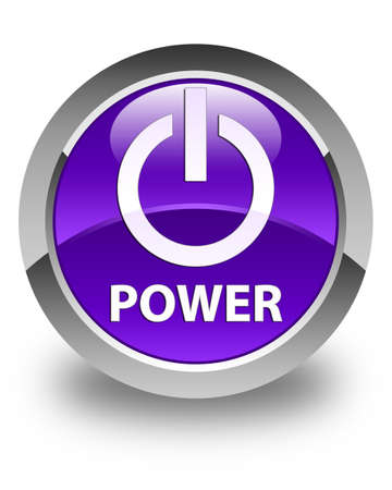 shut off: Power glossy purple round button Stock Photo