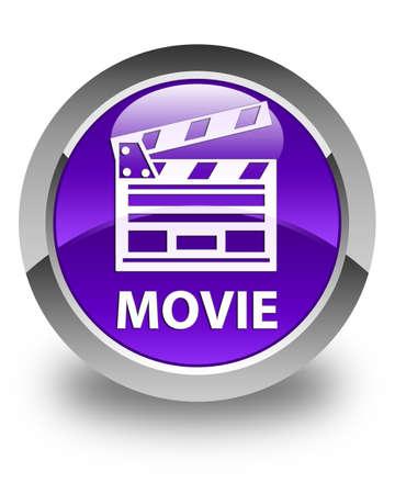Movie (cinema clip icon) glossy purple round button Banco de Imagens