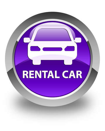 purple car: Rental car glossy purple round button Stock Photo
