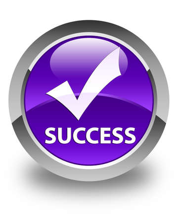 validate: Success (validate icon) glossy purple round button Stock Photo