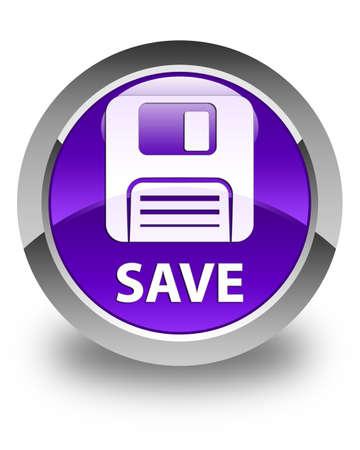 floppy disk: Save (floppy disk icon) glossy purple round button