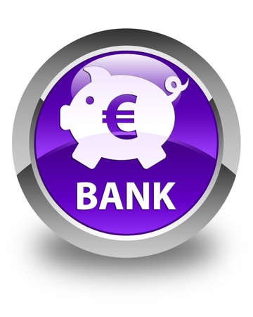 economical: Bank (piggy box euro sign) glossy purple round button