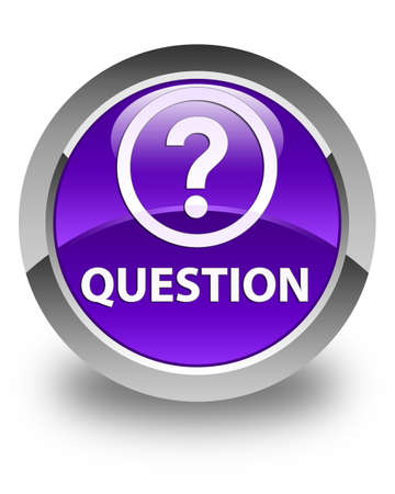 Question glossy purple round button Stock Photo