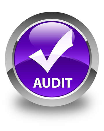 validate: Audit (validate icon) glossy purple round button