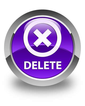 delete: Delete glossy purple round button Stock Photo