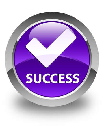 validate: Success (validate icon) glossy purple round button Stock Photo