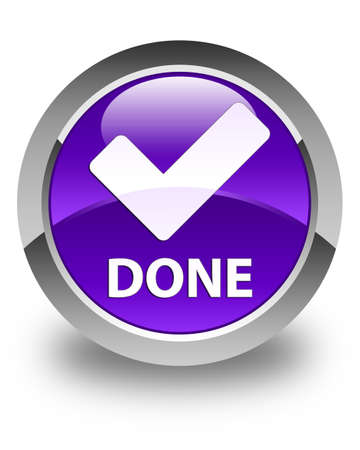 validate: Done (validate icon) glossy purple round button Stock Photo