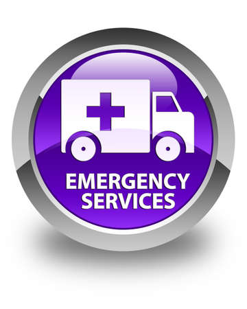 emergency services: Emergency services glossy purple round button