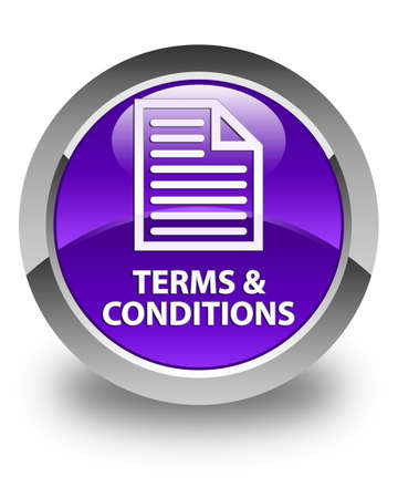 terms: Terms and conditions (page icon) glossy purple round button Stock Photo