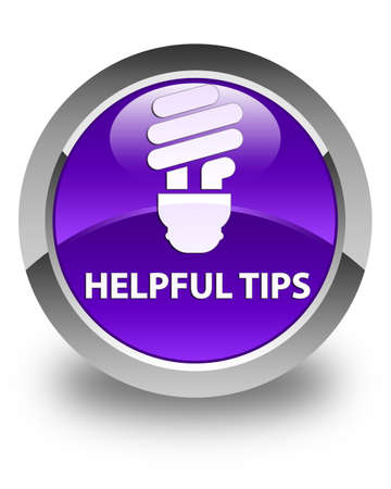 hints: Helpful tips (bulb icon) glossy purple round button Stock Photo