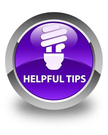 helpful: Helpful tips (bulb icon) glossy purple round button Stock Photo