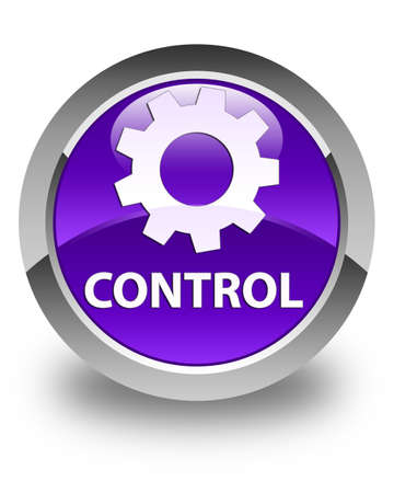 preference: Control (settings icon) glossy purple round button Stock Photo