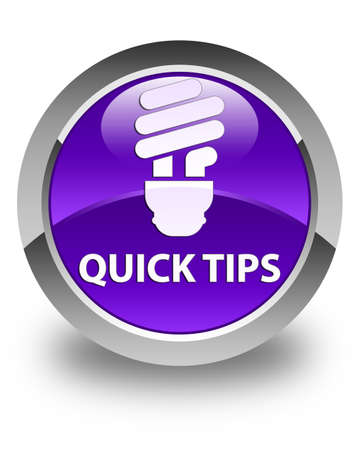 hints: Quick tips (bulb icon) glossy purple round button Stock Photo