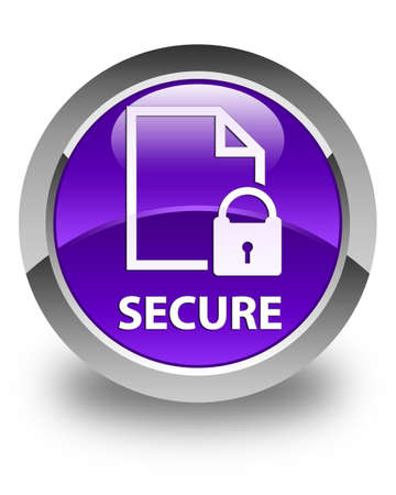 secure: Secure (document page padlock icon) glossy purple round button