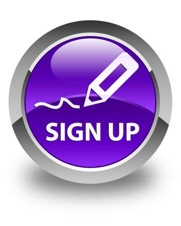 sign up: Sign up glossy purple round button Stock Photo