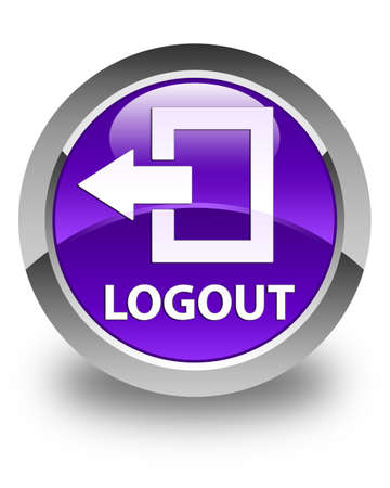 disconnect: Logout glossy purple round button Stock Photo